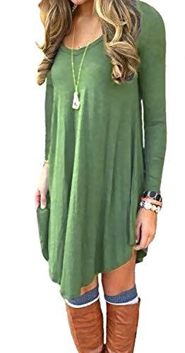 POSESHE Women's Long Sleeve Casual Loose T-Shirt Dress (M, A Army Gren)