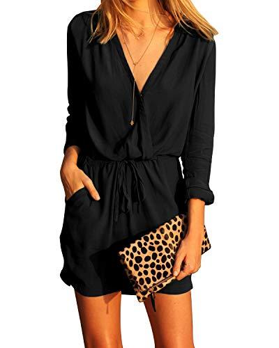 YOINS, vestito estivo da donna a tuta, elegante, scollo a V, sexy, a maniche lunghe, con cintura Vestito nero S