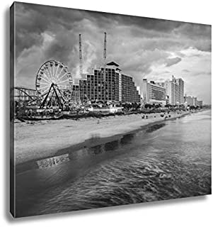 Ashley Canvas Daytona Beach Skyline, Wall Art Home Decor, Ready to Hang, Black/White, 16x20, AG5919823