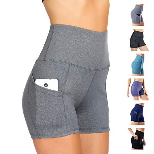 Damen Leggings Yogahosen Sporthose Tights Laufhose High Waist mit Taschen Dehnbar Jogginghose Yoga Sport Fitness Laufen(Hellgrau,S)