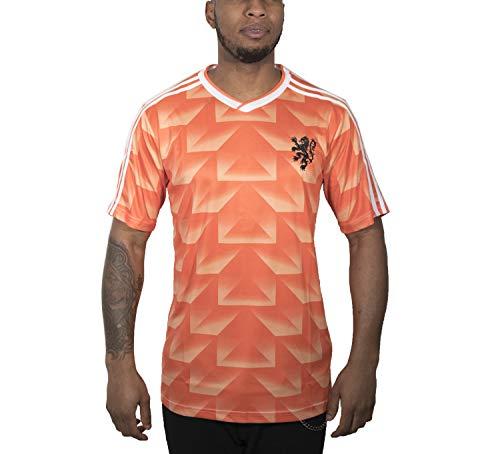 90er Retro Classic 1988 Holland Niederlande Trikot Fußball T-Shirt Van Basten L orange