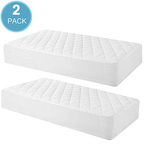 Learn More About 2 Pack Quilted Fitted Waterproof Crib Mattress Protector, Soft Breathable Organic B...