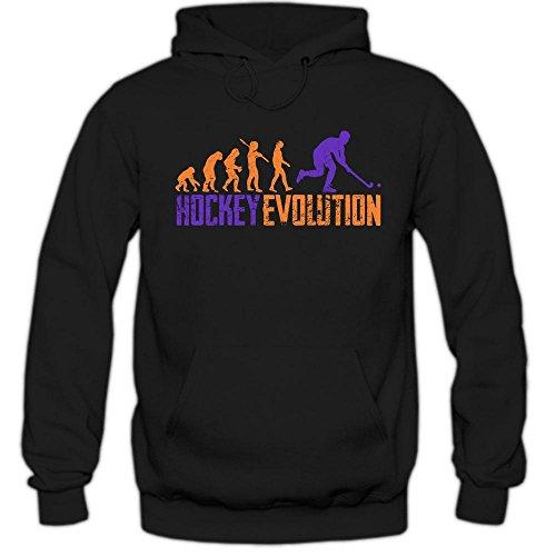 Hockey Evolution #1 Hoodie | Eishockey | Streethockey | Unique | Herren | Kapuzenpullover, Farbe:Schwarz (Black F421);Größe:M