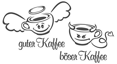 dekodino® Wandtattoo Spruch Küche Guter Kaffee - böser Kaffee - Engel - Teufel