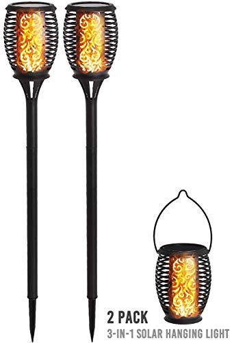 DECO EXPRESS Solarlampen für Außen, Led Beleuchtung, IP65 Wasserbeständigkeit, Garten Fackeln, Flackernde Flamme, Dekoration für Party, Hochzeit, Solarleuchte Laterne 2 Stück Pack