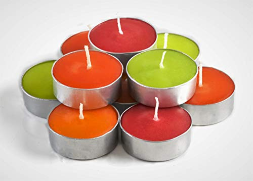 Exquizite Fall Candles Scented Tea Lights Candles Gift Set - 64 pcs - Set of 16 Fall Scented Candles with 4 Autumn Fragrances - Pumpkin Spice with Nutmeg, Orange Clove, Autumn Leaves and Eucalyptus