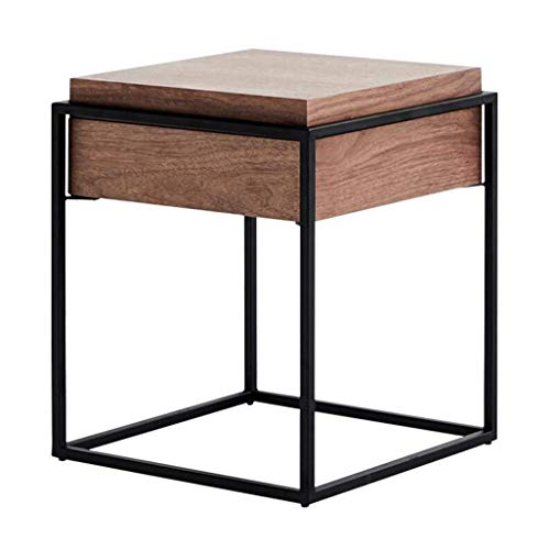 DJY-JY Coffee Table Square Walnut Wrought Iron Locker With Drawer Bedside Table Nordic Style