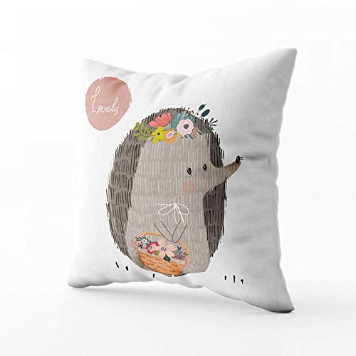 N\A Indoor Outdoor Pillows Covers, Cute Summer Hedgehog Square Pillowcase Couch Sofa Inch Throw Cushion Cover