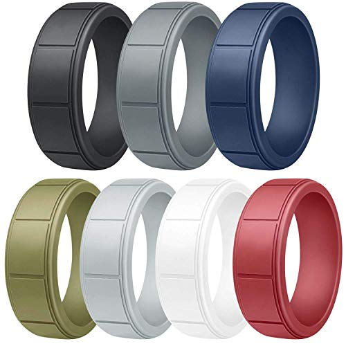 EMBNN Silicone Wedding Ring for Men, Thin, Affordable and Stackable...