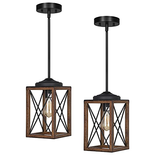 DEWENWILS 2 Pack Farmhouse Pendant Light, Metal Hanging Light Fixture with Wooden Grain Finish, 48 Inch Adjustable Pipes for Flat and Slop Ceiling, Kitchen Island, Bedroom, Dining Hall, ETL Listed
