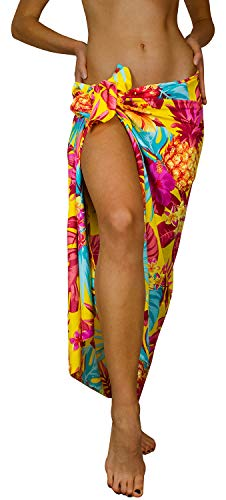 King Kameha Funky Hawaii Cover-up Pareo Sarong, Pineapple, Gelb, Gross