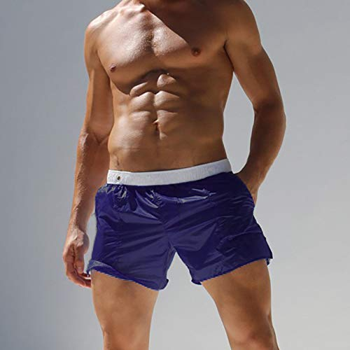 ASDWA Strandshorts,Herren Quick Dry Badehose Durchscheinende Weiß-Dunkelblaue Shorts Mit Taschen Elastische Taille Casual Running Surfing Beach Sportshorts, XXXL