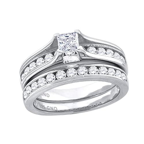 JewelryWeb Mujer 0.925 plata de ley cuadrada Cubic Zirconia