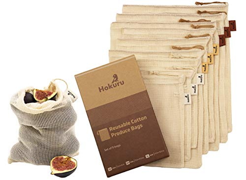 HOKURU Reusable Produce Bags  100% Cotton Bags for Shopping Storage  EcoFriendly Biodegradable Mesh Bag for Fruits Vegetables Grocery  Washable Cotton Drawstring Bag  Set of 9pcs