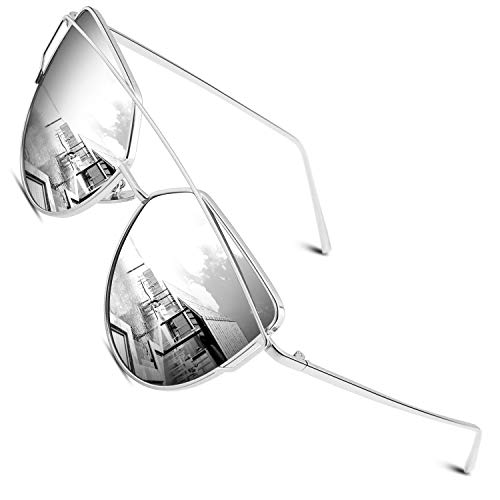 CGID Mode Polarisierte Katzenaugen Cat eye Sonnenbrille For Damen UV400 reflektierenden Spiegel Metall Rand Rahmen,Silber Silber