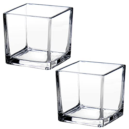 Jarrón de cristal cuadrado de 10 cm, jarrones de flores transparentes decorativos...