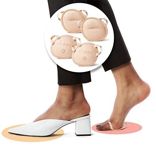 Sheec SockShion - Premium Washable Ergonomic Ball of Foot Cushions - 3 SIZES - ALL DAY PAIN RELIEF SHOE INSERT ALTERNATIVE - Small Cream 2 Pairs