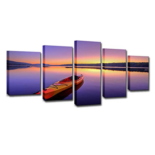 Kayak en el lago, 5 juegos de pinturas, impresión HD, pinturas de arte de pared, pinturas modernas, pinturas de decoración del hogar, impresión de lienzo, sin marco, 8X14 / 18/22 pulgadas