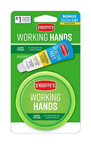 O'Keeffe's Working Hands Hand Cream, 3.4oz Jar with Bonus Healthy Feet Exfoliating Foot Cream Sample