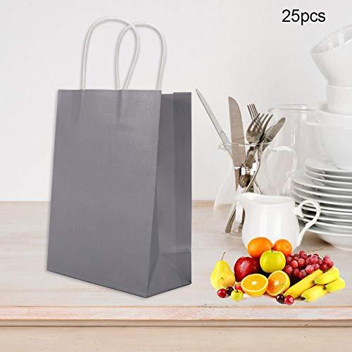 Filfeel Geschenktüte Kraftpapier, für Hochzeitsbonbons Mit Griff, Partytüten, Papiereinkaufstüten 25 STK(Silber)