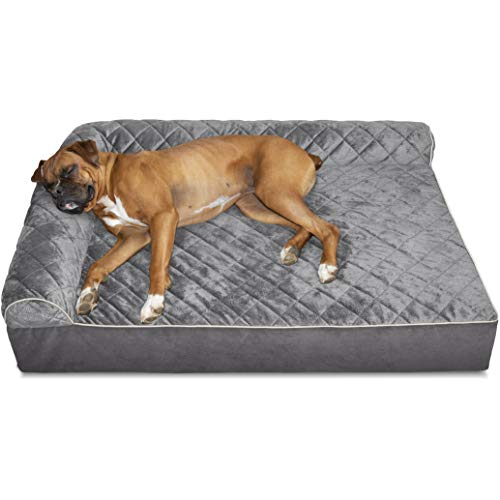 Furhaven Pet Dog Bed - Deluxe Orthopedic Goliath Quilted Faux Fur and Velvet L Shaped Chaise Lounge Living Room Corner Couch Pet Bed with Removable Cover for Dogs and Cats, Gray, 2XL