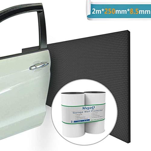 MegaQ – 2 unidades en un rollo – 2000 x 250 x 8,5 mm – Paragolpes Garage paneles adhesivos y amortiguadores protectores para coche protección de pared para puerta coche