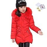 LSERVER Abrigo de Invierno Acolchado para Niñas Princesas Chaqueta de algodón Dulce con Capucha Cintura Ajustable, Rojo, 8-9 años / 140