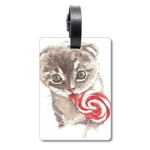 Kleine kat Lollipop aquarel dier cruise koffer tas Tag Tourister identificatie label