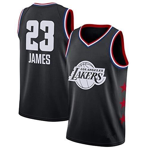 A-lee Maglia da Uomo -Lebron James- Lakers #23 Jersey, Maglia Vintage da Giocatore di Basket, Ricamo Traspirante e Resistente all'Usura T-Shirt da Uomo (Nero-2, XL)
