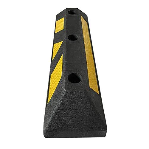Dough.Q - Limitación de parada de rueda de goma con tiras reflectantes amarillas para aparcamiento y garajes, color negro y amarillo, dimensiones 56 x 15 x 10 cm, carga hasta 10 toneladas