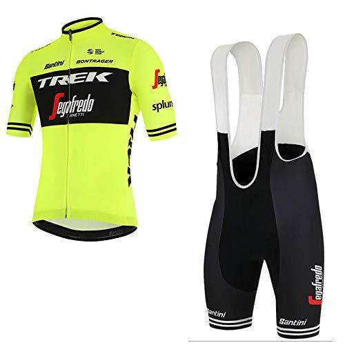 WOLFIRE WF - Mono de ciclismo masculino, culote y maillot, con acolchado Gel Pad 5D, para bicicleta de montaña, carretera y spinning, color T Jaune, tamaño XXL