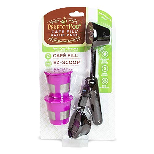 Cafe-Fill Value Pack by Perfect Pod | Reusable K-Cup Pod Filters & Coffee Scoop, Compatible with Keurig K-Duo, K-Mini, 1.0, 2.0, K-Series and Select Single Cup Coffee Makers