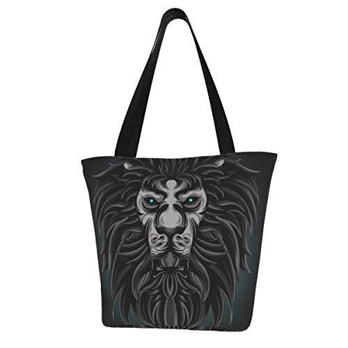 Bolsa de asas Lion Vector para uso comercial Cocina Bolsas de supermercado reutilizables Bolsa de compras de lona para exteriores 11X13 pulgadas