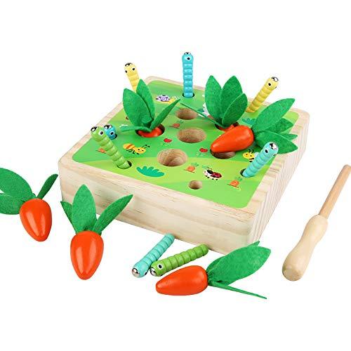 YUDIZWS 2 En 1 Educación Temprana De Madera Cosecha De Zanahorias Juguetes Sensoriales A Juego, Montessori Catch Bugs Games Juegos De Nabos Aprendizaje Preescolar del Bebé,Natural