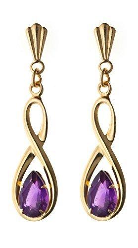 9ct yellow gold semi-precious February birthstone, figure of 8 amethyst drop earrings. Gift box