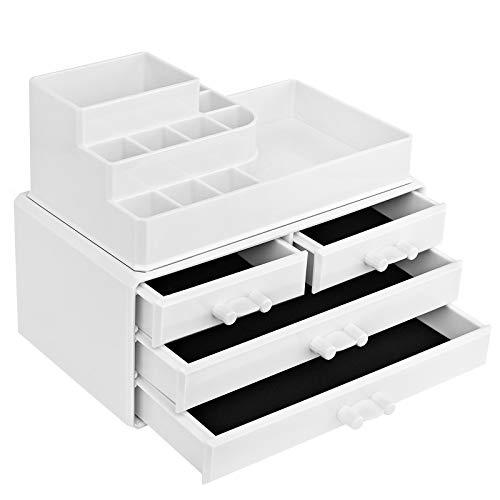 SONGMICS Make-up Organizer, Kosmetik-Organizer mit 4 Schubladen und 11 Fächern in unterschiedlichen Größen, rutschfeste Einlagen, für Schminke und Schmuck, weiß JKA001WT