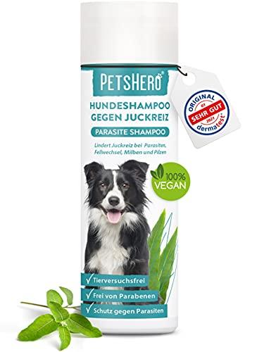 Hundeshampoo gegen Milben, Flöhe, Parasiten, Schuppen - 250 ml - Parasiten Shampoo mit angenehmen Duft & optimal auf die Hundehaut angepasst - für Welpen geeignet - Dermatest Sehr gut