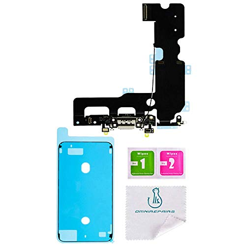 OmniRepairs Charging USB Dock Port Flex Cable Replacement with Microphone Compatible for iPhone 7 Plus Model (A1661, A1784, A1785, A1786) with Adhesive (Black)