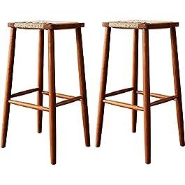Ensemble de 2 chaise de bar tabouret de bar en rotin marron décoration de la maison tabourets de bar en osier rotin…