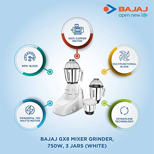 Bajaj GX 8 750 DLX 750W Mixer Grinder with 3 Jars, White