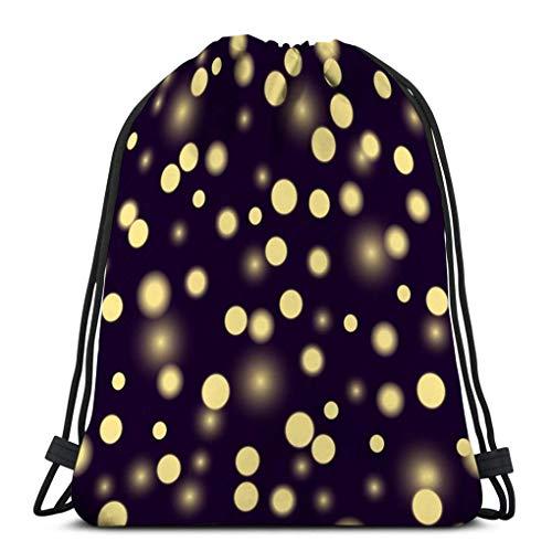 Drawstring Bag Rucksack Drawstring Bag Sport Pattern flickers Lights Yellow VintageDrawstring Backpack 36X43CM