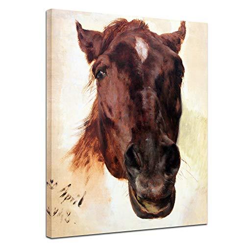 Wandbild Adolph von Menzel Pferdestudie II - 50x70cm hochkant - Alte Meister Berühmte Gemälde Leinwandbild Kunstdruck Bild auf Leinwand