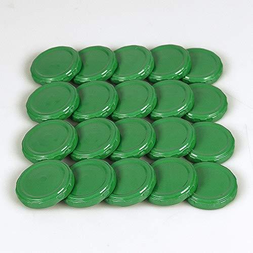 Flaschenbauer - 20 St. Twist-off-Deckel 48 mm grün PVC-frei mit Button für Glasflaschen, Milchflaschen, Saftflaschen, Einmachgläser, Marmeladengläser und Sturzgläser TO 48
