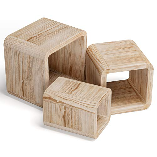 Homfa Set of 3 Nesting Table Cube Shape Solid Wood Table Nesting Sofa Table Bedside Table Stackable Side Table