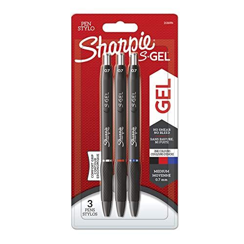 Sharpie S-Gel | Penne gel | Punta media (0,7 mm) | Inchiostro nero, rosso e blu | Confezione da 3