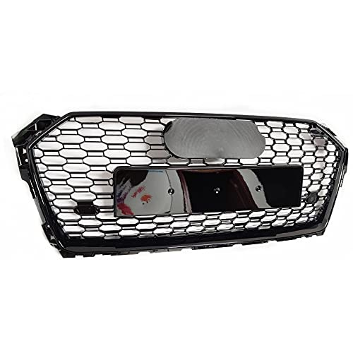 Linhua Frontsport-Sechskant-HEX-Mesh-Wabenkapder Grill Black, kompatibel mit Audi A5 / S5 B9 RS5 Style 2017-2020 (Color : Black Emblem)