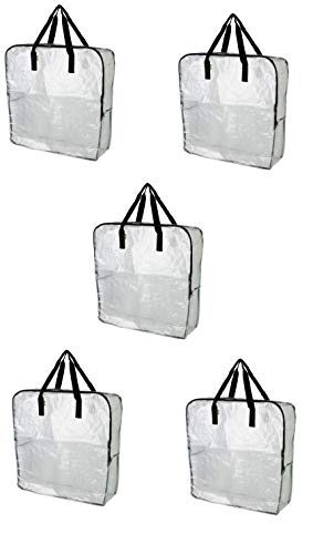 IKEA DIMPA Extra Large Storage Bag, Clear Heavy Duty Bags, Moth Moisture Protection Storage Bags (Pack of 5, 25 ½x8 ¾x25 ½)