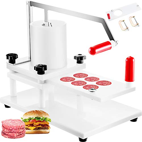 VBENLEM Burger Commercial Buger Press 55mm/2.15inch and 130mm/5inch, Manual Meat Maker PE Material with Tabletop Fixed Design Forming Processor Machine with 2 Sets of Patties Model, 5inch, White