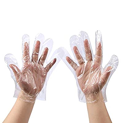 Disposable Food Prep Gloves - 500 Piece Plastic Food Safe Disposable Gloves, Food Handling, Transparent, One Size Fits Most (500 PCS?