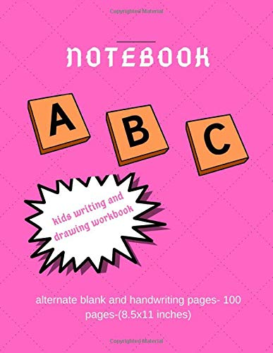 Notebook: Alternate pages ( Blank x handwriting) large size : Perfect for kids for writing and sketching